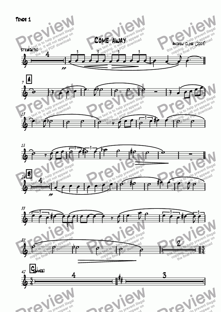 page one of the Tenor Sax 1 part from Come Away
