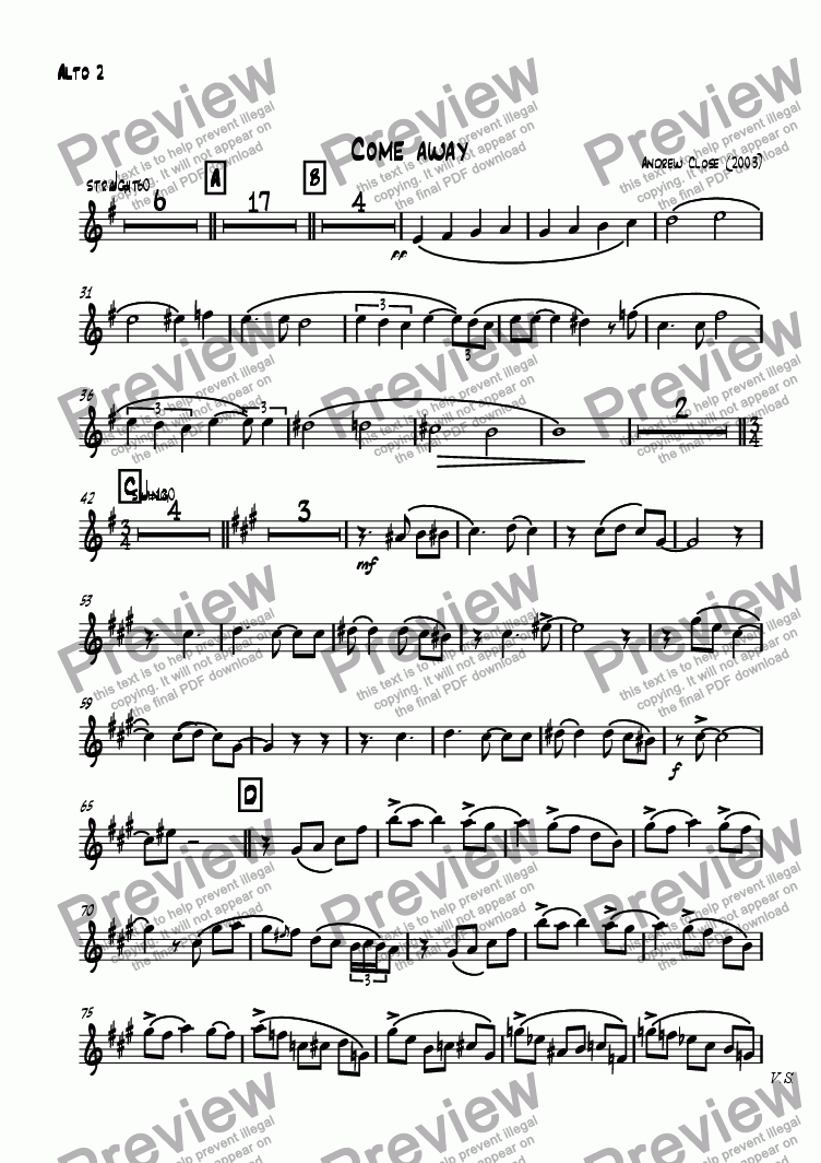 page one of the Alto Sax 2 part from Come Away