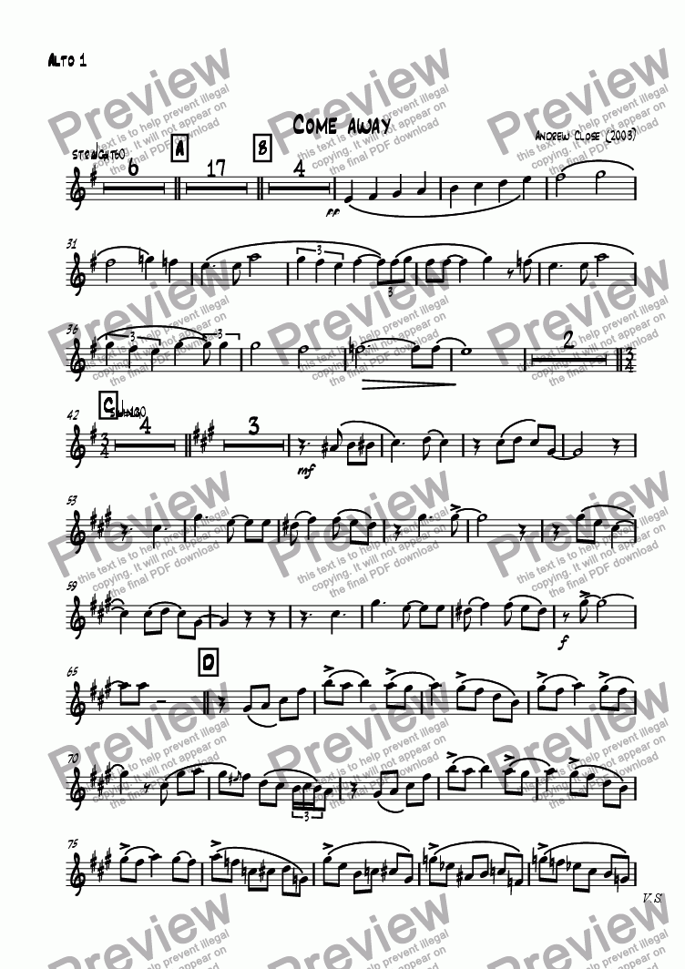 page one of the Alto Sax 1 part from Come Away