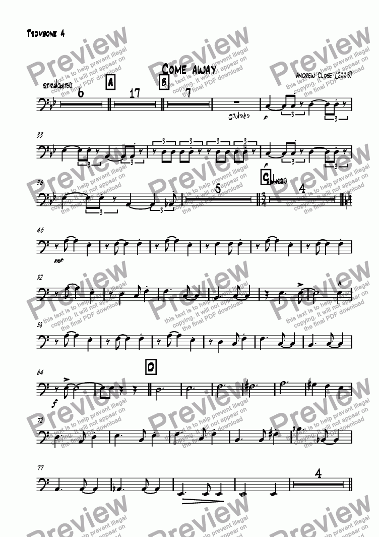 page one of the Trombone 4 part from Come Away