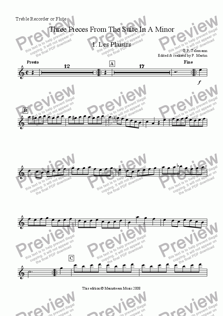 page one of the Treble Recorder / Flute part from Three Pieces from the Suite in A Minor