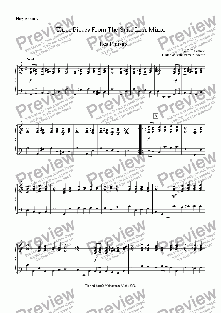 page one of the Continuo part from Three Pieces from the Suite in A Minor