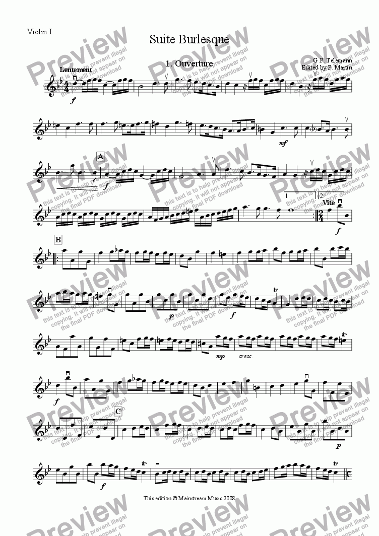 page one of the Violin I part from Suite Burlesque