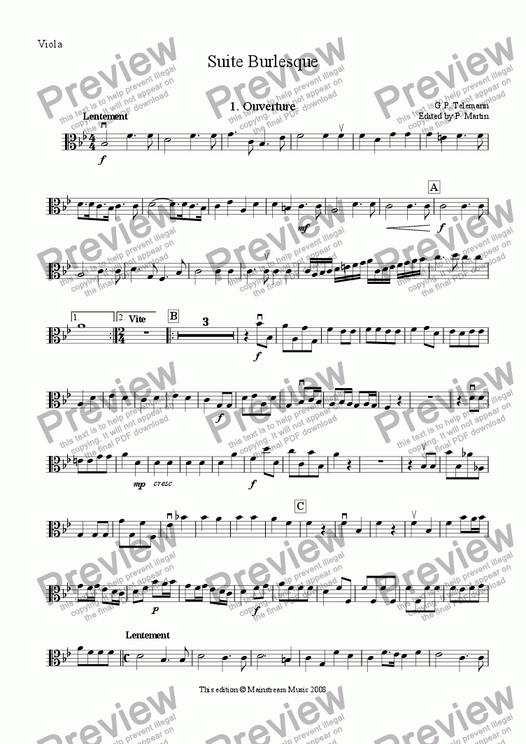 page one of the Viola part from Suite Burlesque