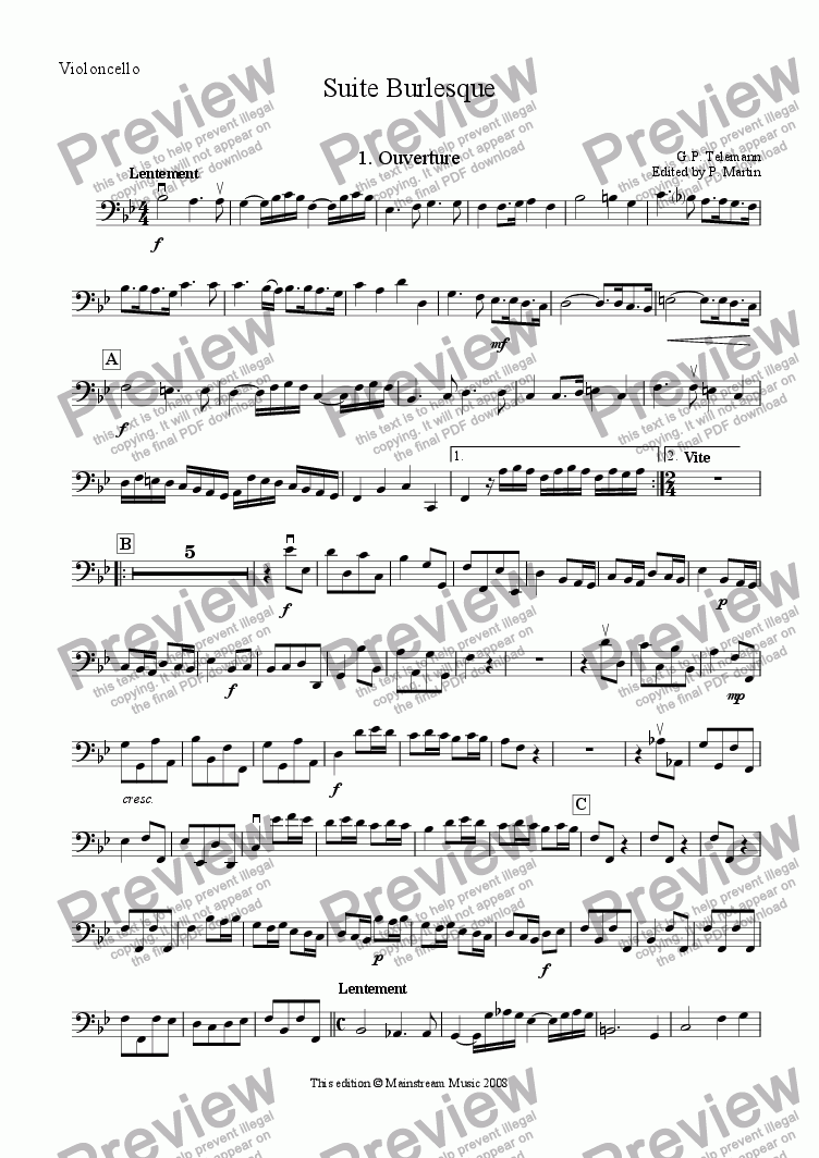 page one of the Cello part from Suite Burlesque