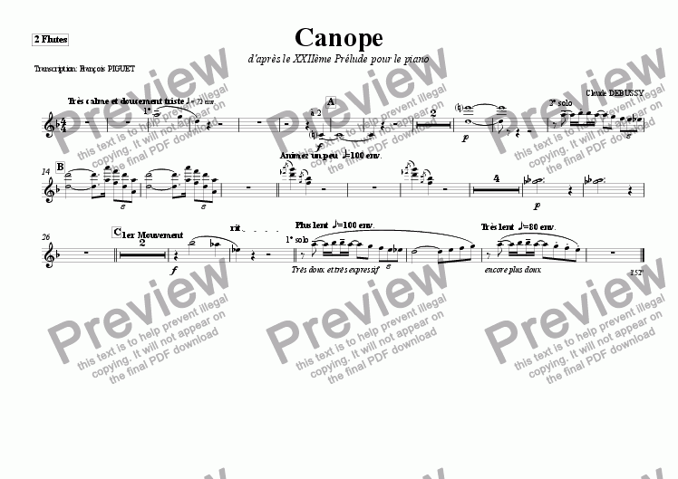 "page one of the 2 Flutes part from Cl. DEBUSSY: ""Canope"", Prelude for Piano arranged for Woodwinds and Brass by Fran�ois PIGUET"