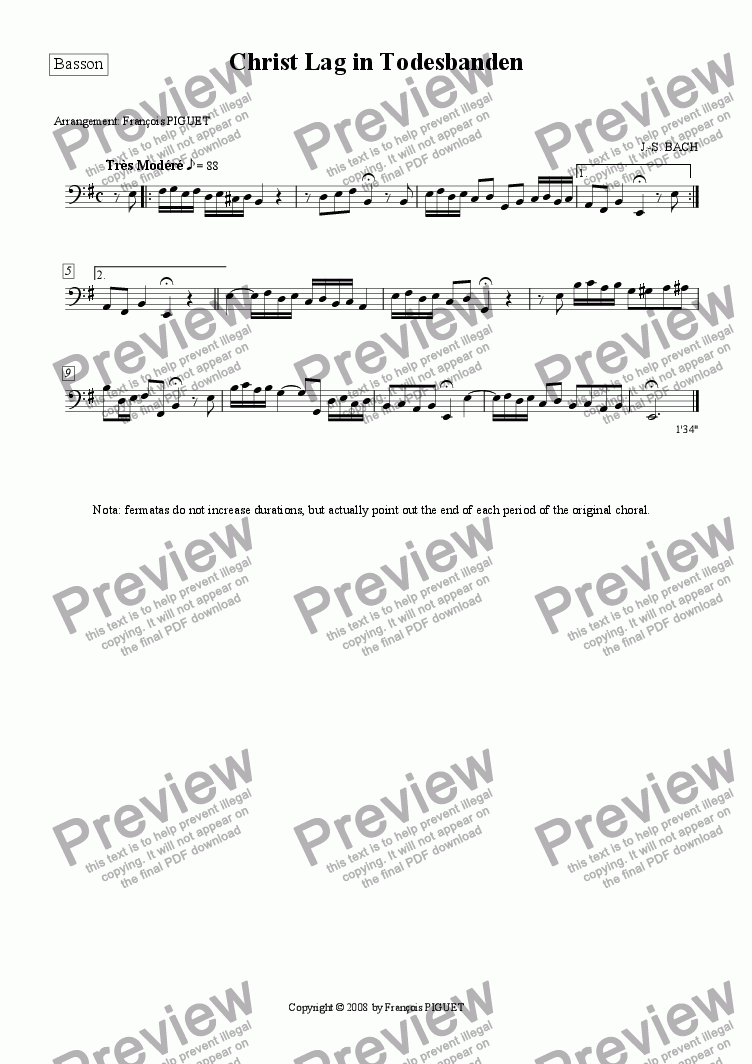 "page one of the Basson part from J.-S. BACH: ""Christ Lag in Todesbanden"", Chorale Prelude for Organ arranged for a chamber orchestra by Fran�ois PIGUET"