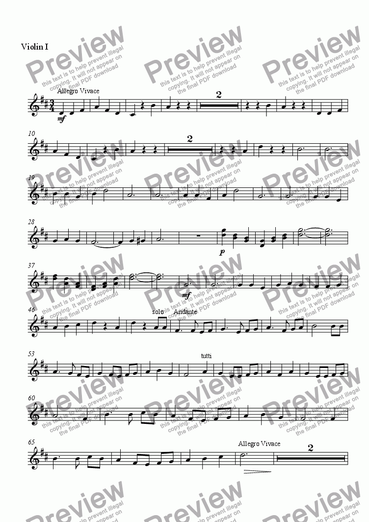 page one of the Violin 1 part from Tres Mariachi Cantos