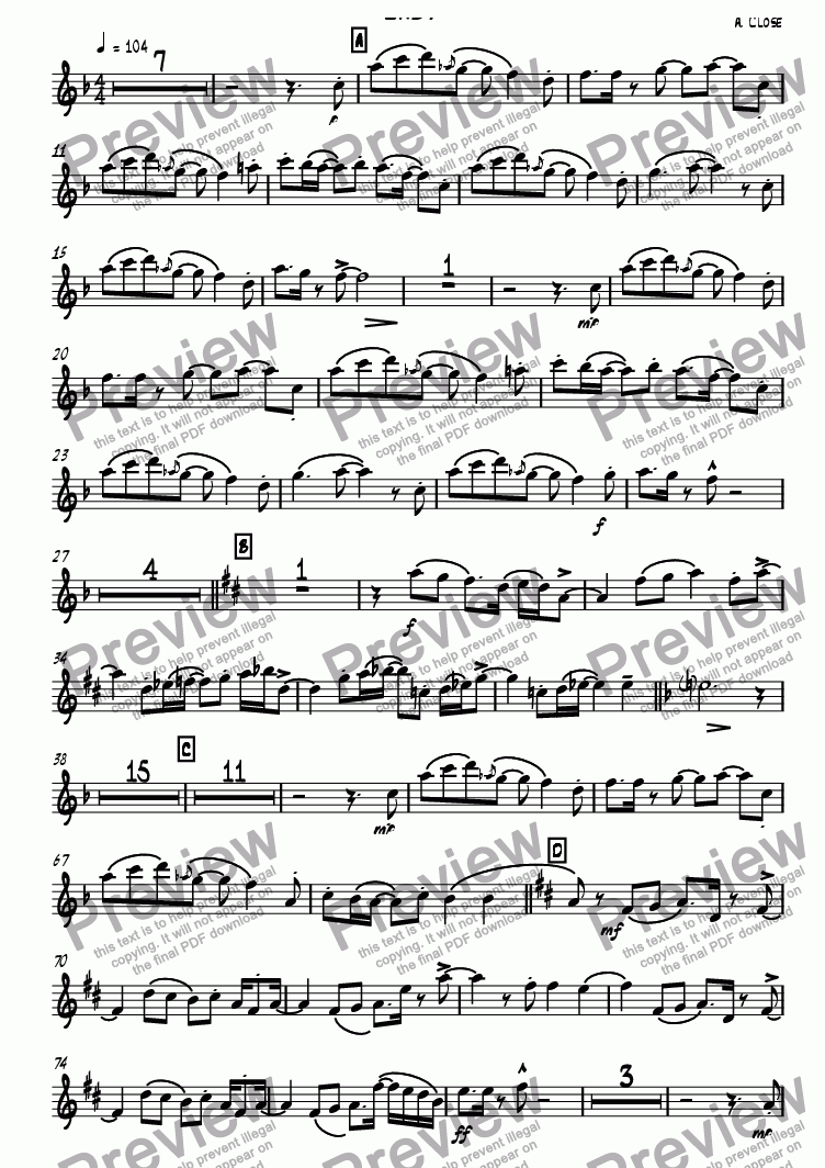 page one of the Tenor Sax 2 part from Easy