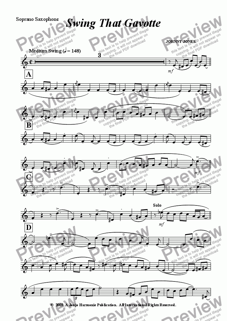 page one of the Soprano Saxophone part from Swing That Gavotte   (Saxophone Quartet)