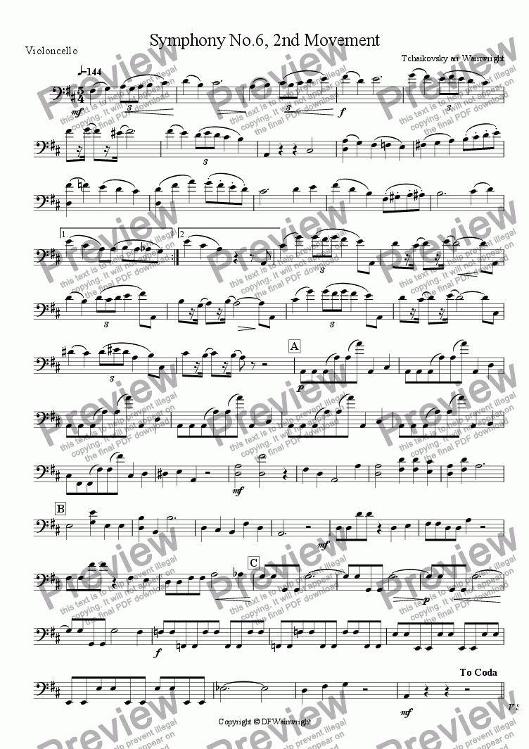 page one of the violoncello part from Symphony No.6  2nd Movement