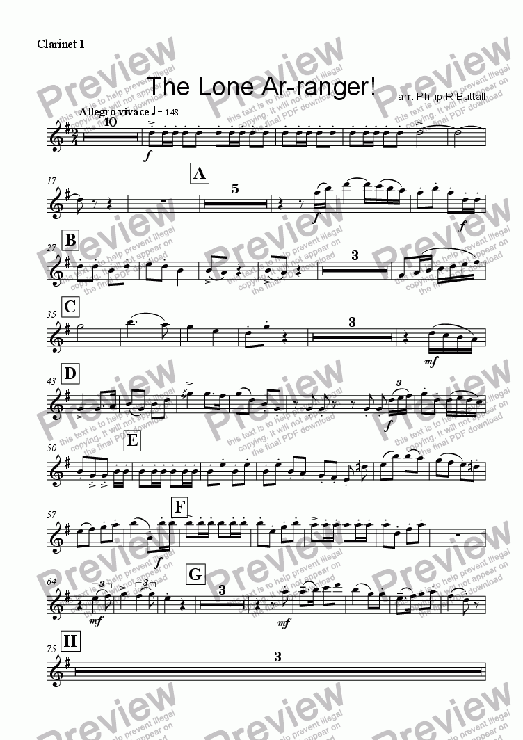 page one of the Clarinet 1 part from The Lone Ar-ranger! (Clarinet Choir or Ensemble)