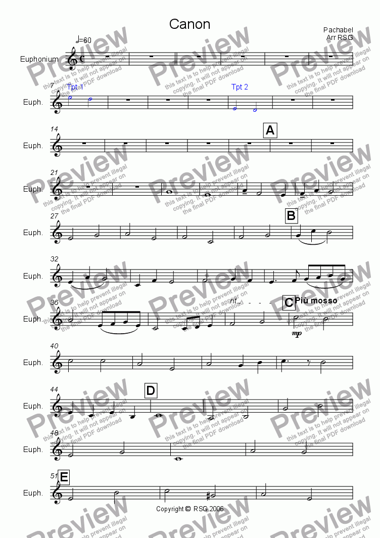 page one of the Euphonium part from Pachelbel's Cannon