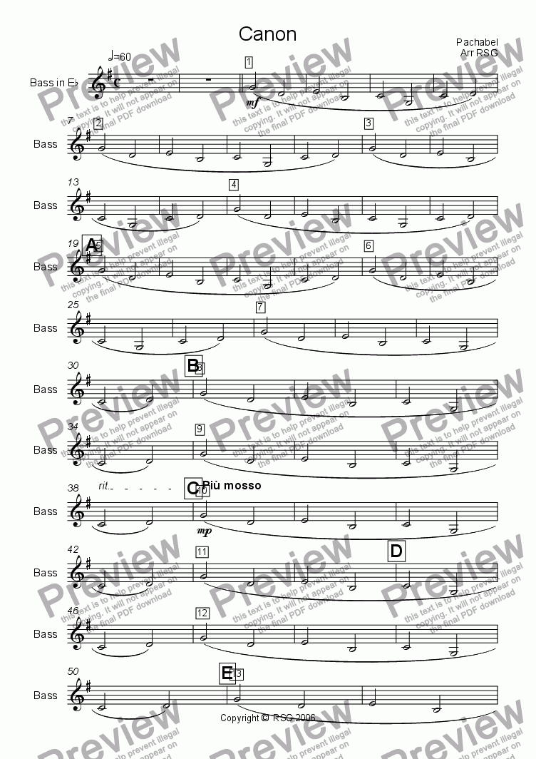 page one of the Bass part from Pachelbel's Cannon