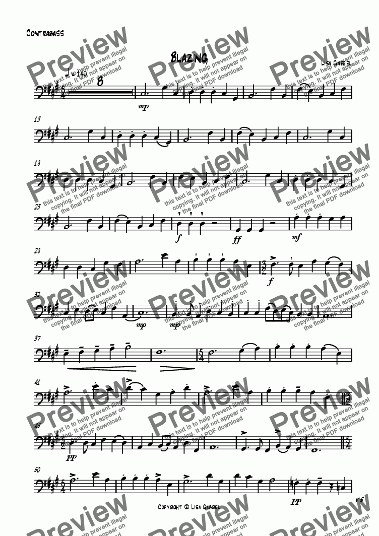 page one of the Contrabass part from Blazing