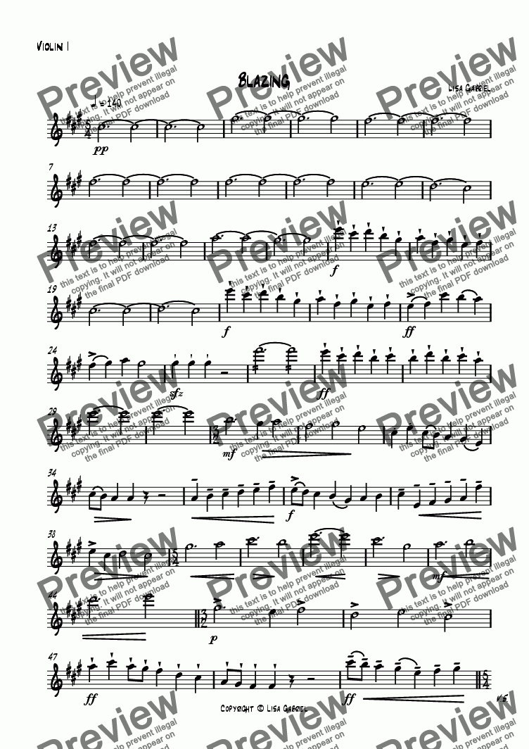 page one of the Violin I part from Blazing
