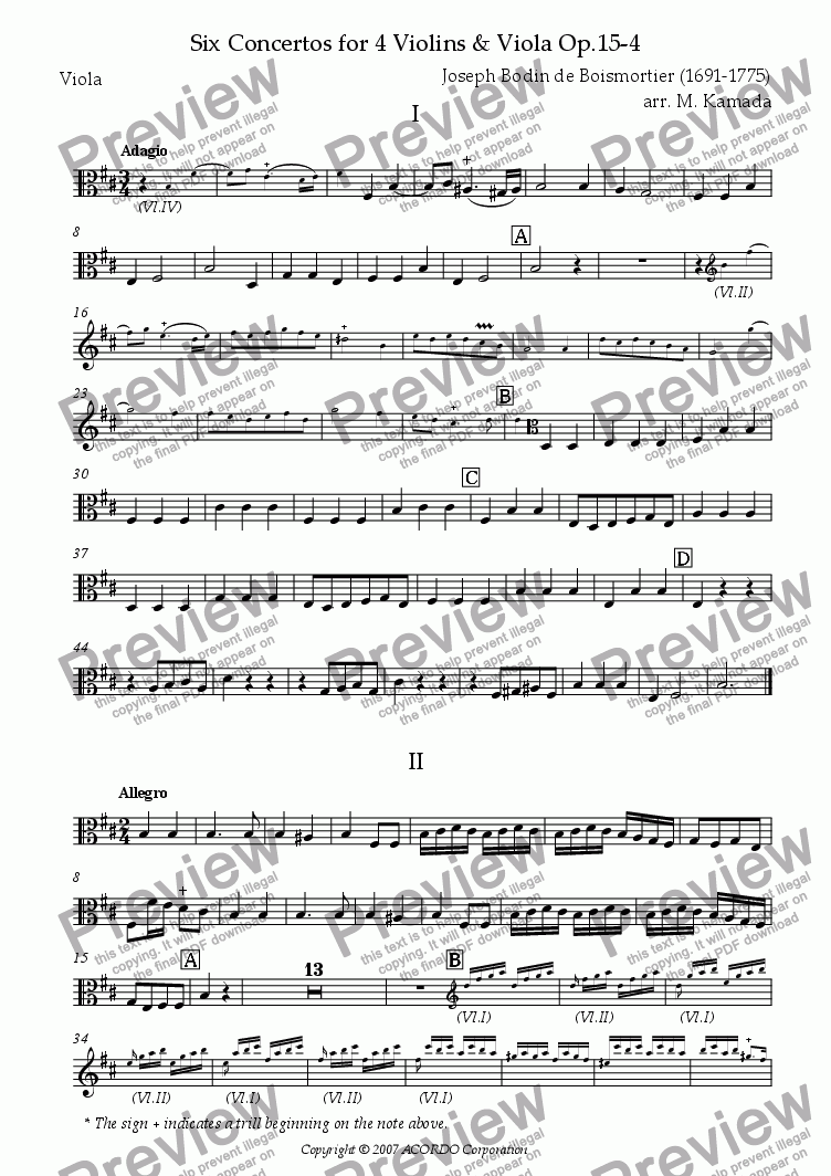 page one of the Viola part from Six Concertos No.4 for four Violins & Viola Op.15-4
