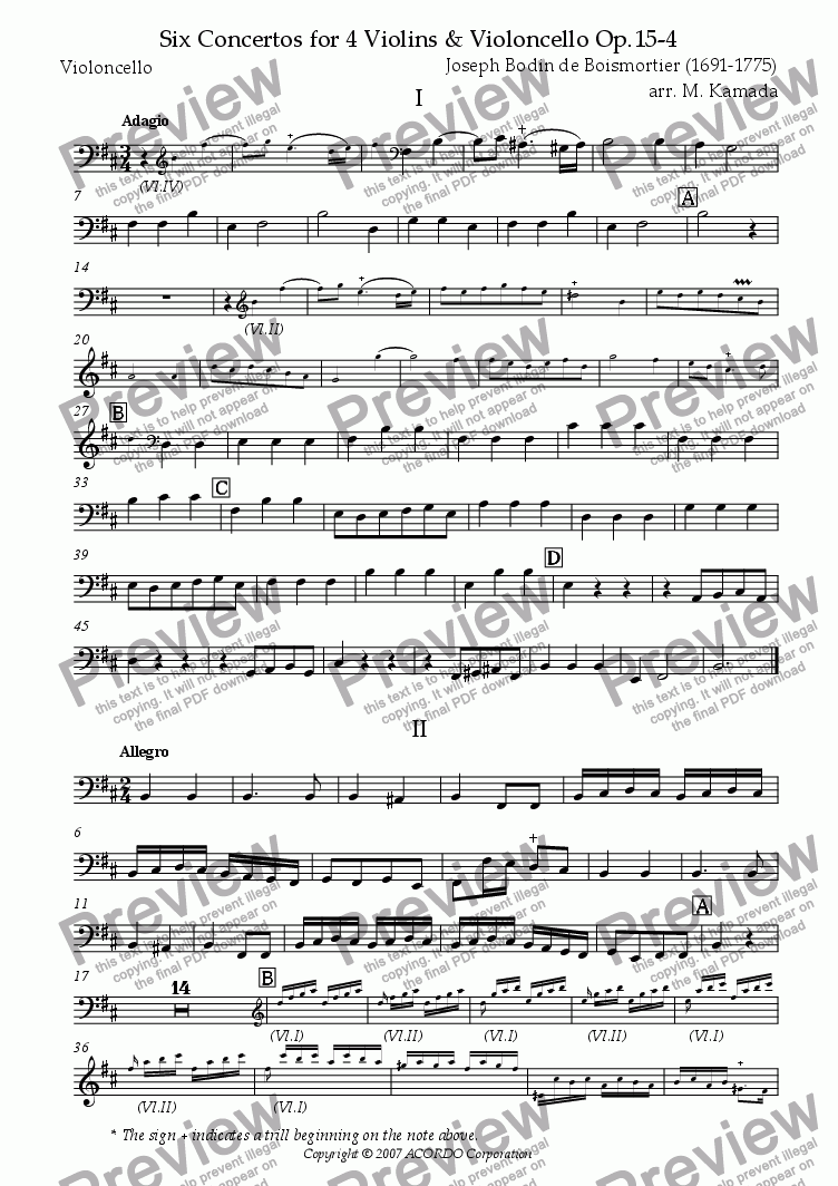 page one of the Violoncello part from Six Concertos No.4 for four Violins & Violoncello Op.15-4