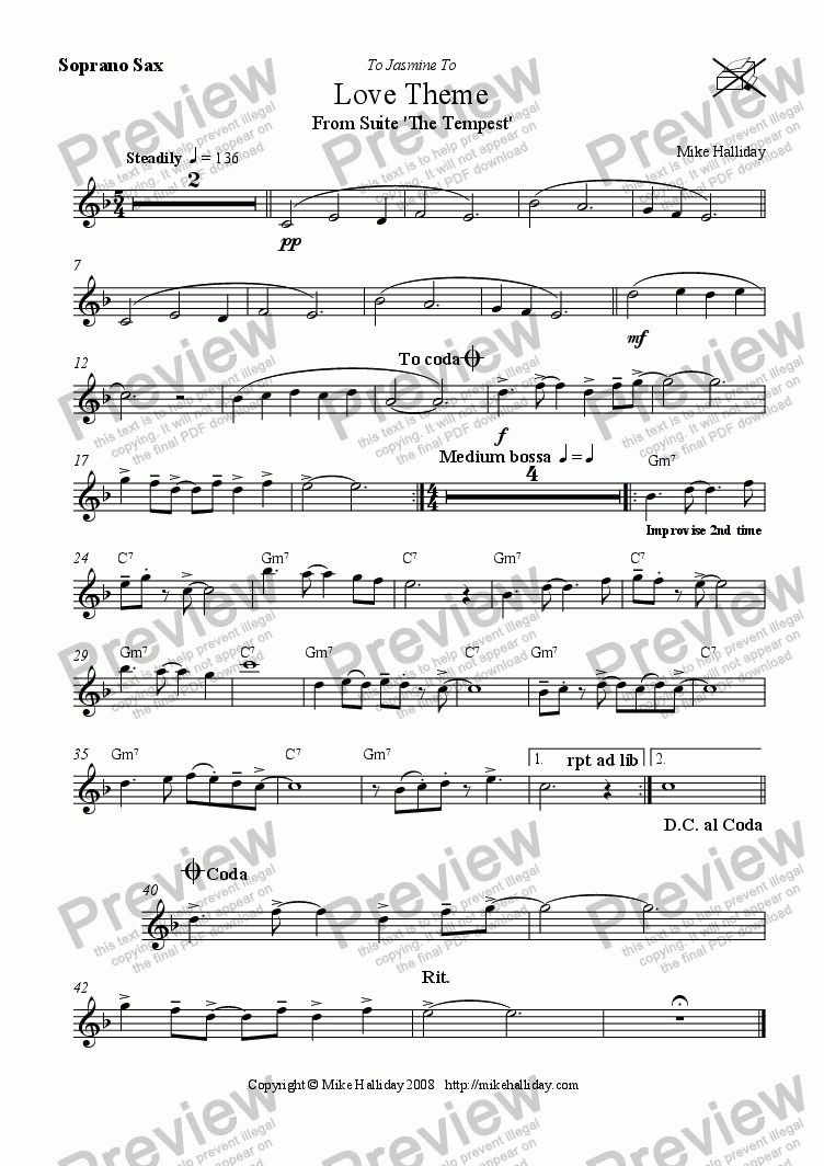 page one of the Soprano / Tenor Sax part from 2. Love Theme from Suite 'The Tempest'