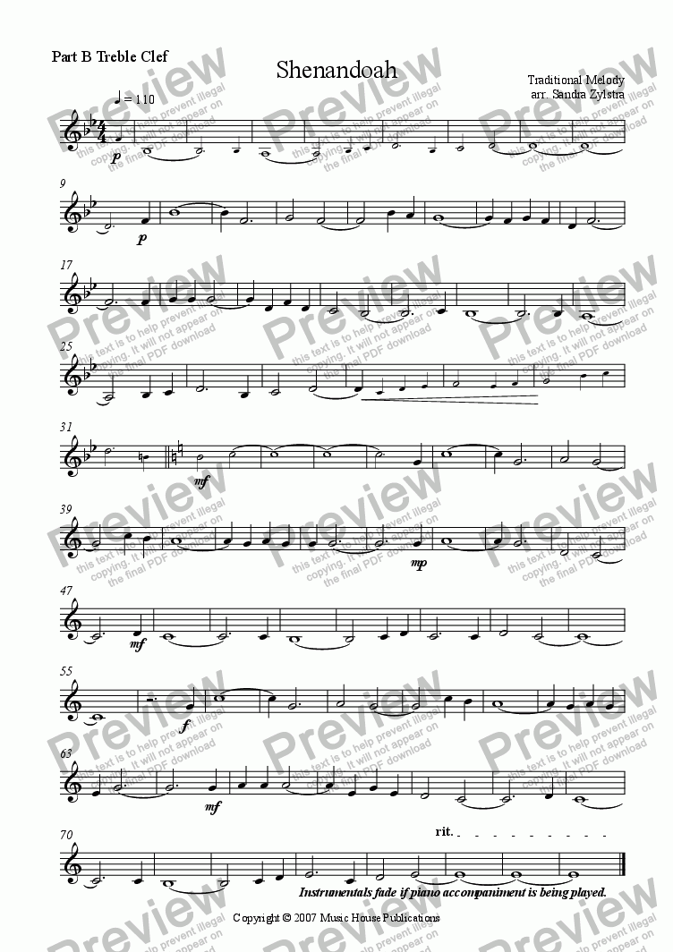 page one of the Shanendoah - Part B Treble part from Instant Ensemble: Shenandoah