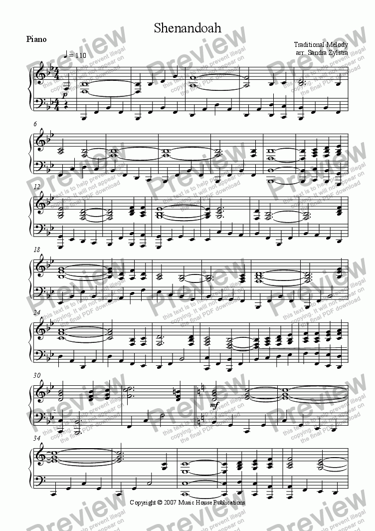 page one of the Shanendoah - Part Piano part from Instant Ensemble: Shenandoah