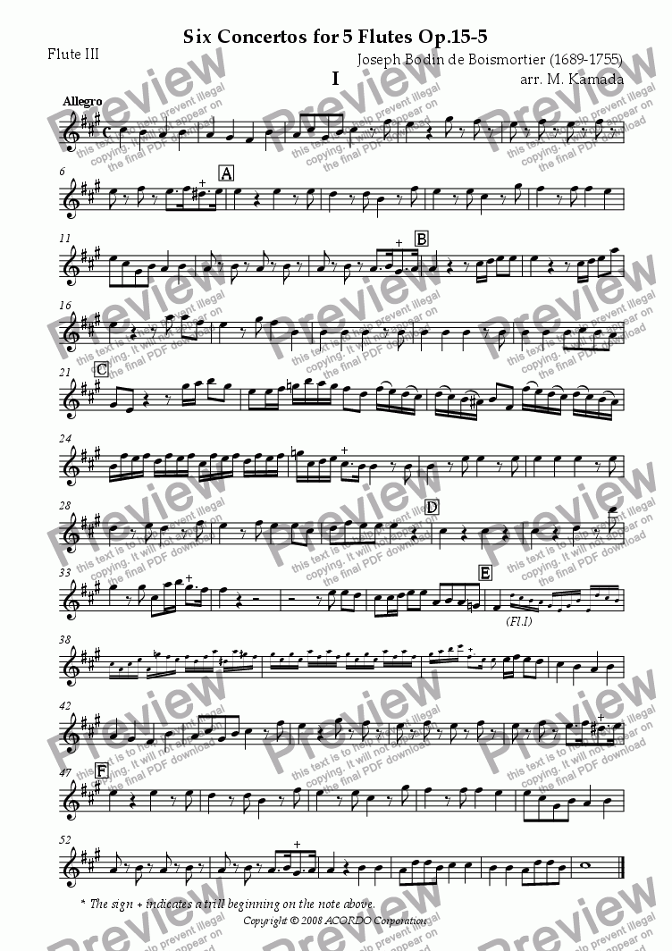 page one of the Flute III part from Six Concertos No.5 for five Flutes Op.15-5