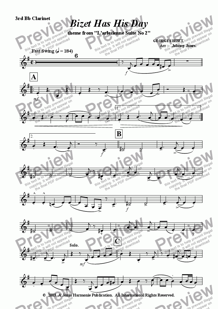 page one of the 3rd Bb Clarinet part from Bizet Has His Day   (Clarinet Quartet)