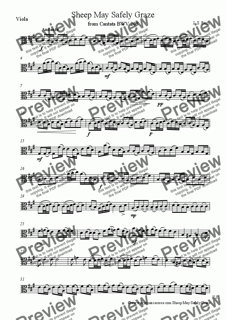 page one of the Viola part from Bach Sheep May Safely Graze for String Orchestra