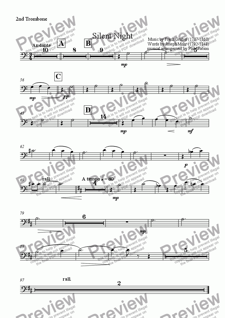 page one of the 2nd Trombone part from Silent Night