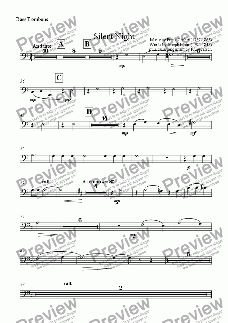 page one of the Bass Trombone part from Silent Night