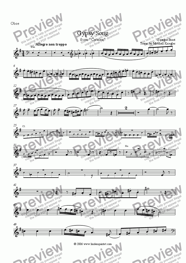 "page one of the Oboe part from Bizet - Gypsy Song from ""Carmen"""