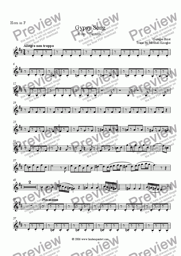 "page one of the Horn part from Bizet - Gypsy Song from ""Carmen"""