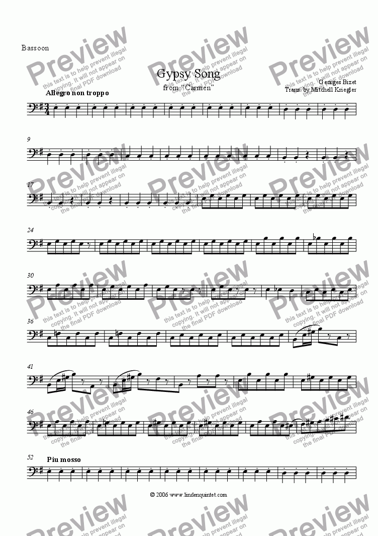 "page one of the Bassoon part from Bizet - Gypsy Song from ""Carmen"""
