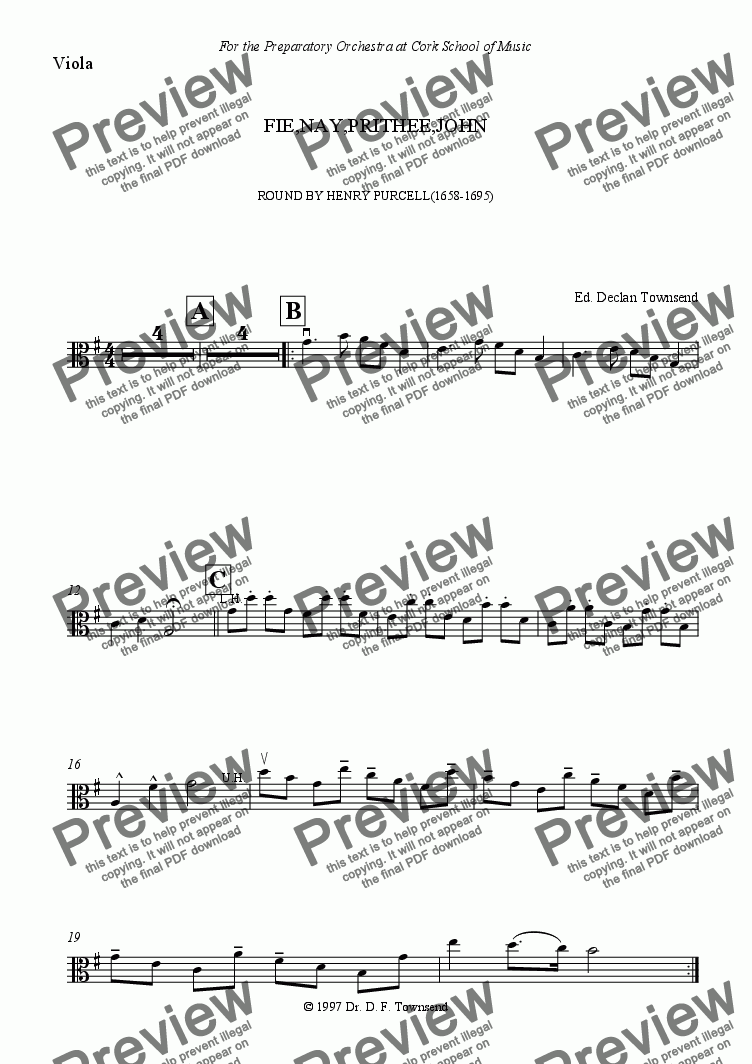 page one of the Viola part from Fie, nay, prithee John