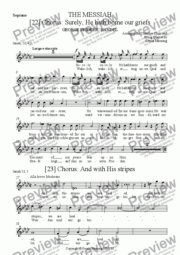 page one of the Soprano part from Reliquary of Sacred Music - Handel, G.F. - 3 Choruses from The Messiah -  arr. for Chamber Choir and String Quartet by Gerald Manning