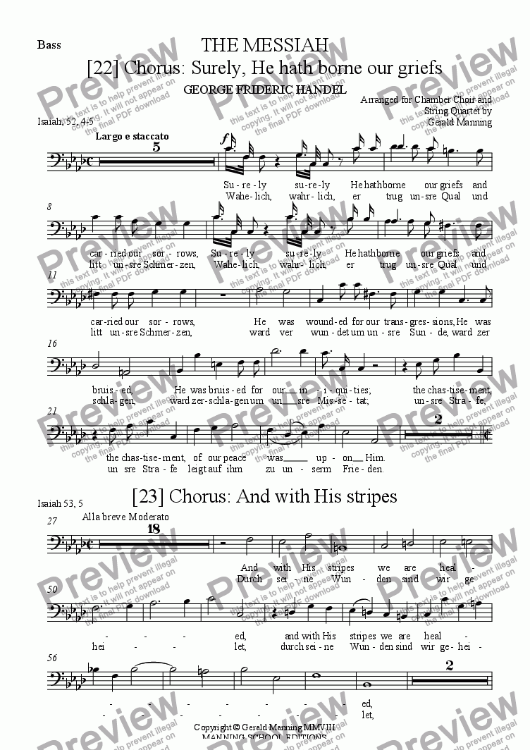 page one of the Bass part from Reliquary of Sacred Music - Handel, G.F. - 3 Choruses from The Messiah -  arr. for Chamber Choir and String Quartet by Gerald Manning