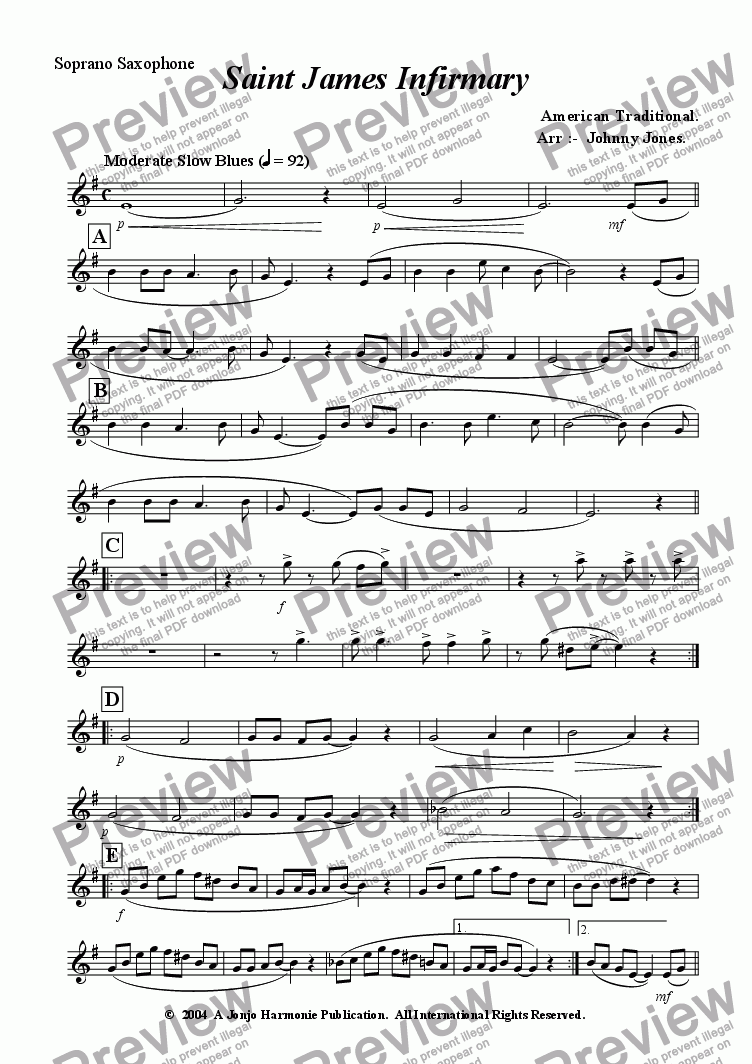 page one of the Soprano Saxophone part from St James Infirmary   (Saxophone Quartet)