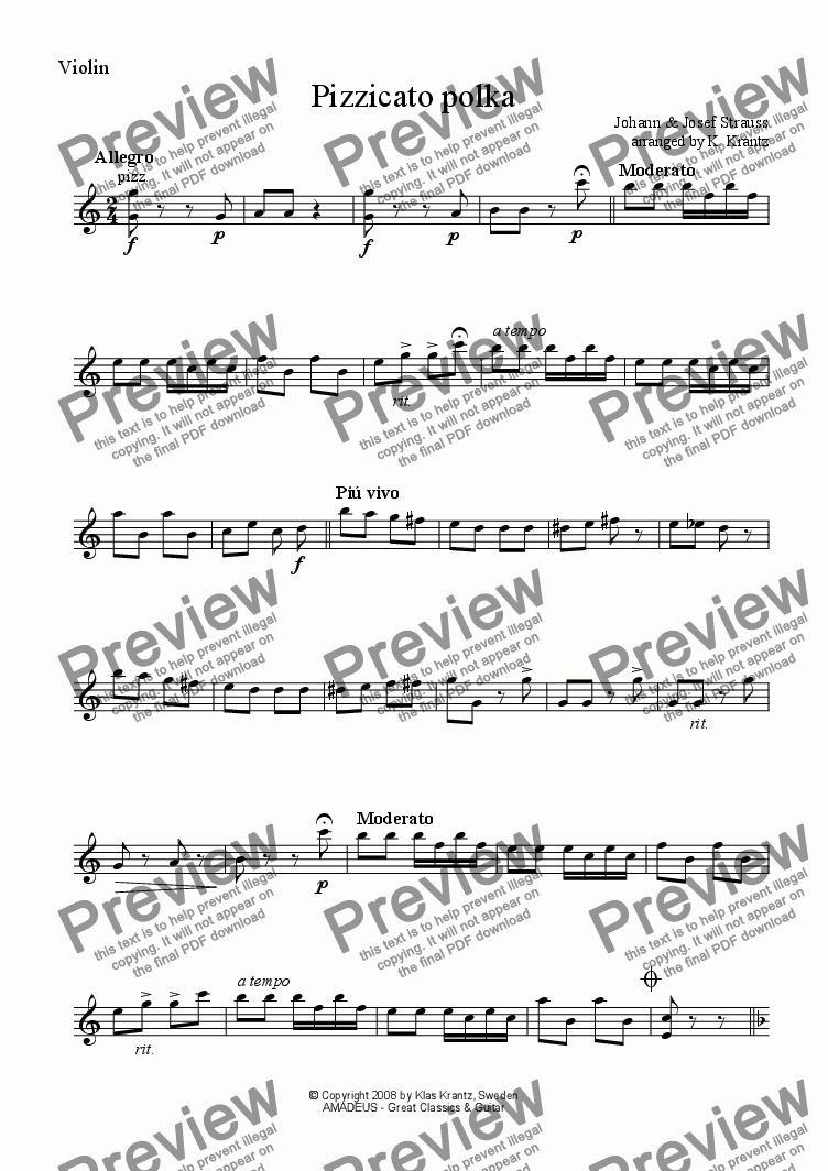 page one of the violin part from Pizzicato polka for violin and guitar