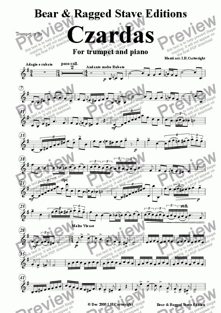 page one of the Trumpet in Bb part from Czardas for trumpet & piano