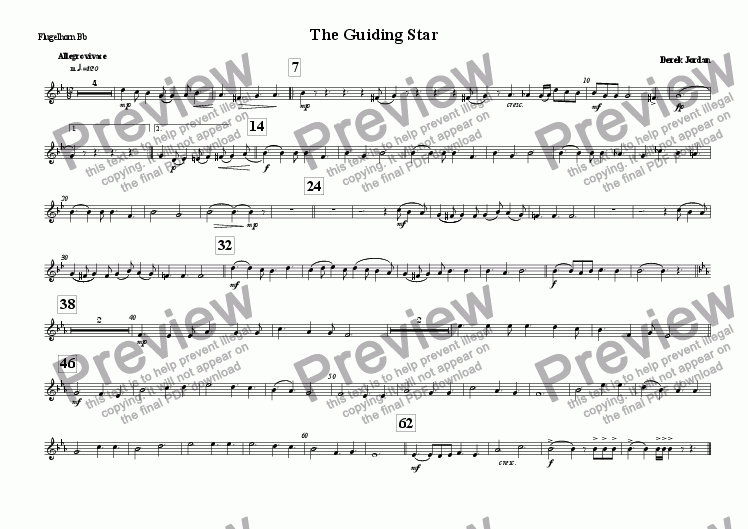 page one of the Flugel Horn Bb part from The Guiding Star