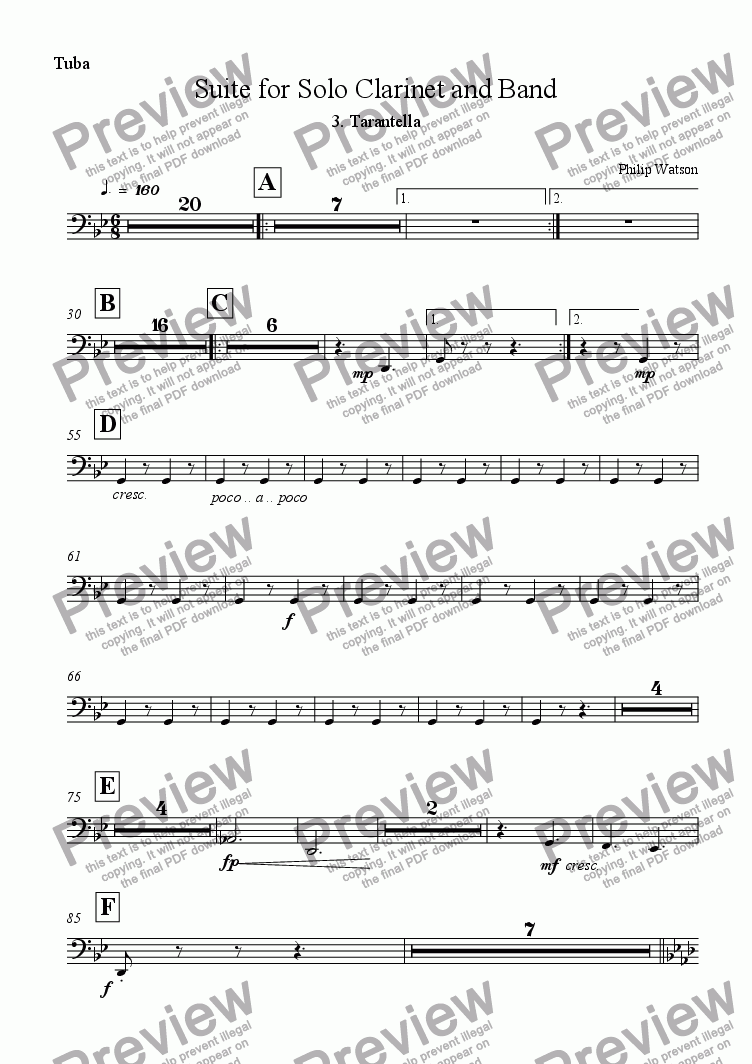 page one of the Tuba part from Tarantella - From Suite for Clarinet and Band