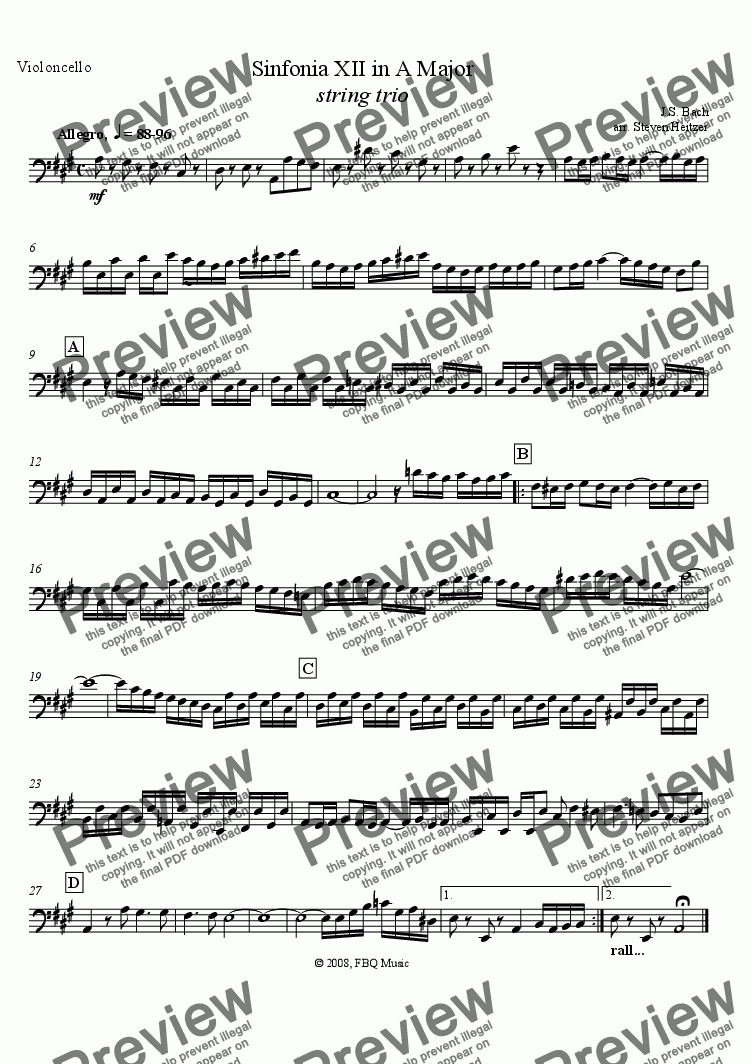 page one of the Violincello part from Sinfonia XII, A major (string trio)