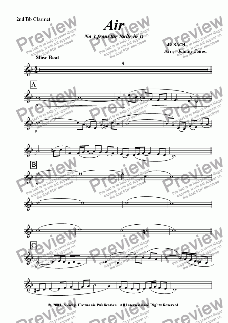 "page one of the 2nd Bb Clarinet part from Air    ""2nd movt  Suite No 3 in D"""