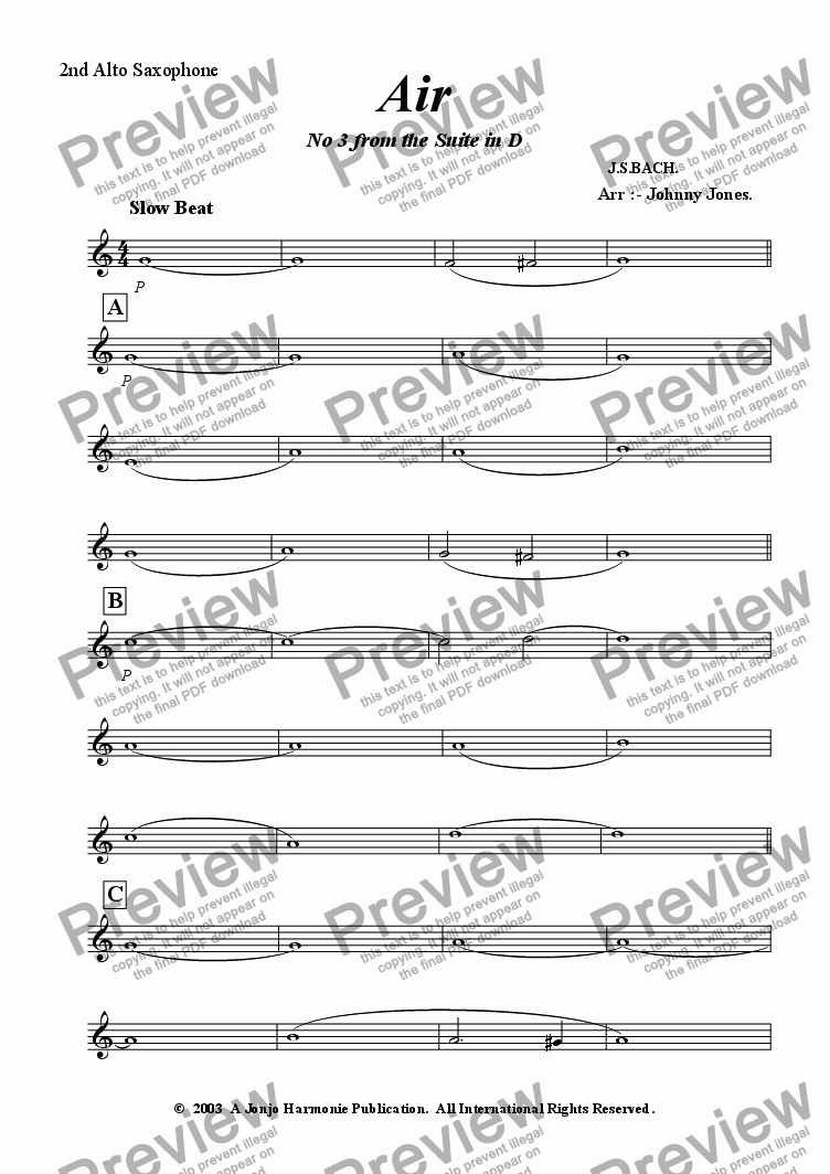 "page one of the 2nd Alto Saxophone part from Air    ""2nd movt  Suite No 3 in D"""