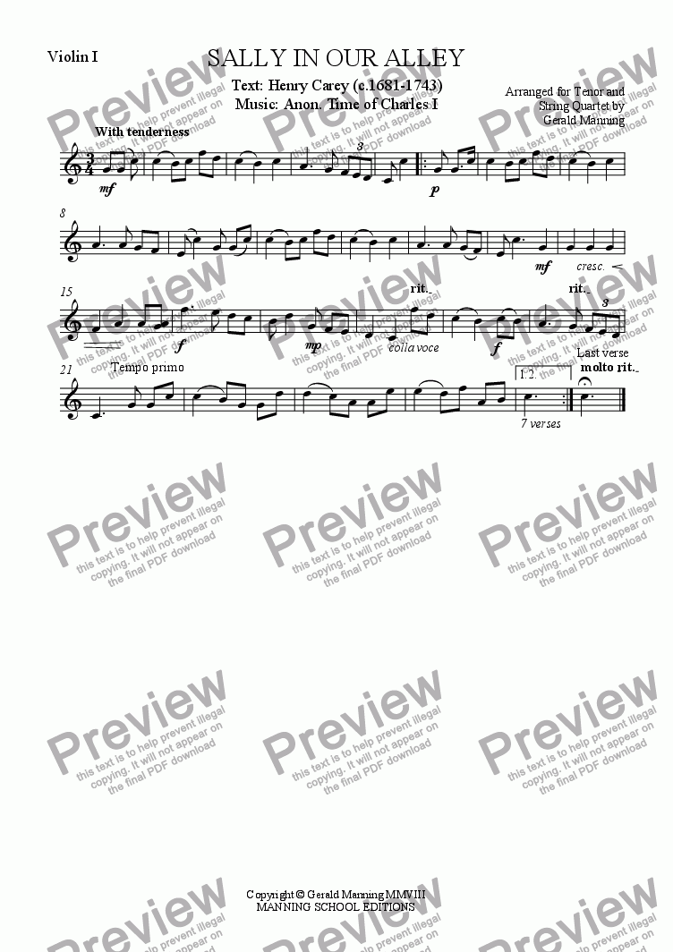 page one of the Violin I part from English Song: Anonymous - Sally in Our Alley - arr. for Tenor & String Quartet by Gerald Manning