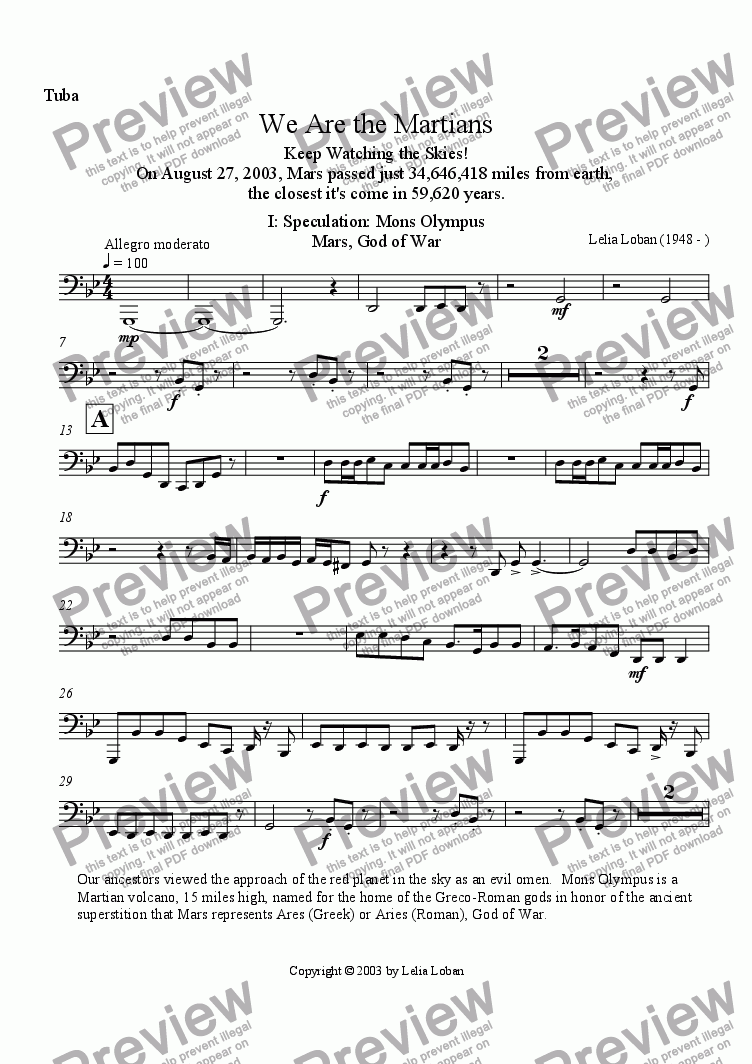 page one of the Tuba part from We Are the Martians (brass quintet + drum)