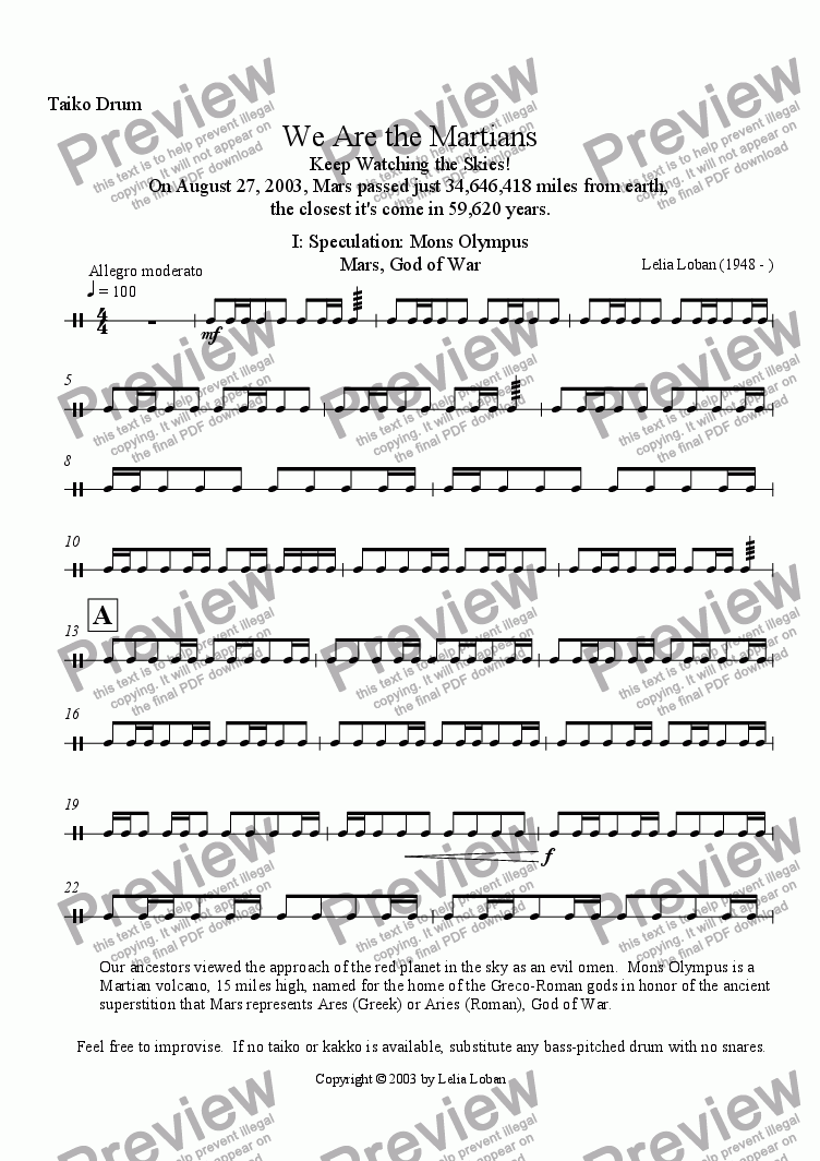 page one of the Taiko Drum part from We Are the Martians (brass quintet + drum)