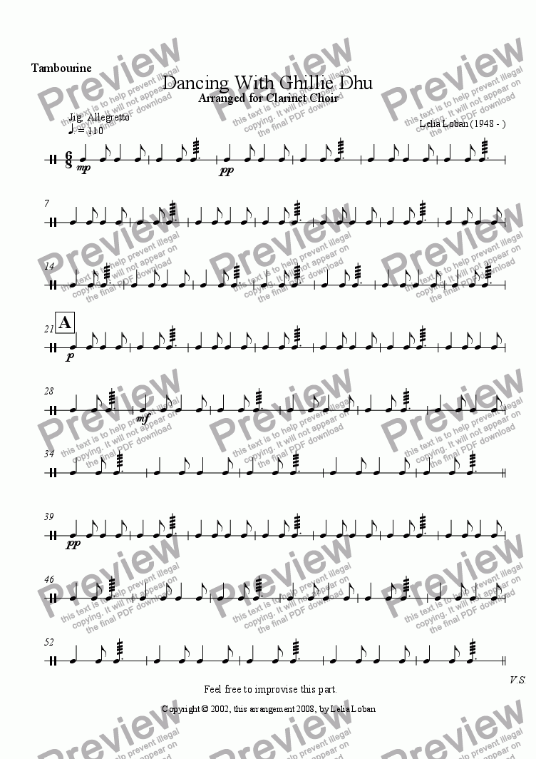 page one of the Tambourine part from Dancing with Ghillie Dhu (clarinet choir)