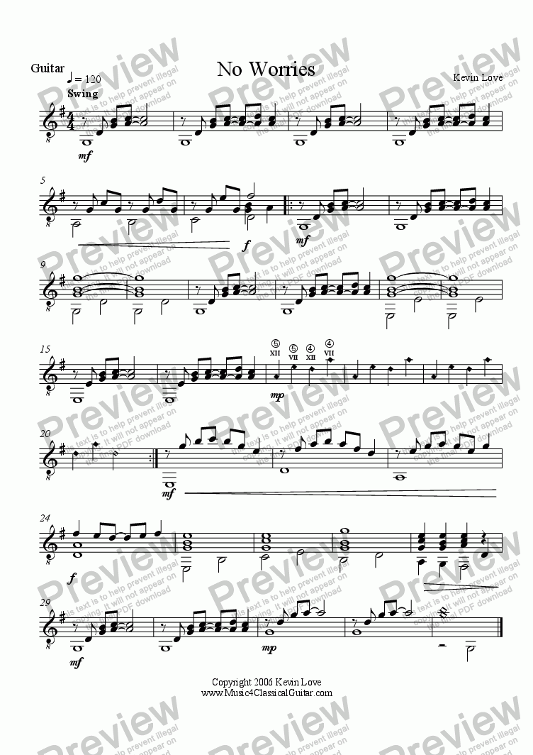 page one of the Guitar part from No Worries (Cello and Guitar)