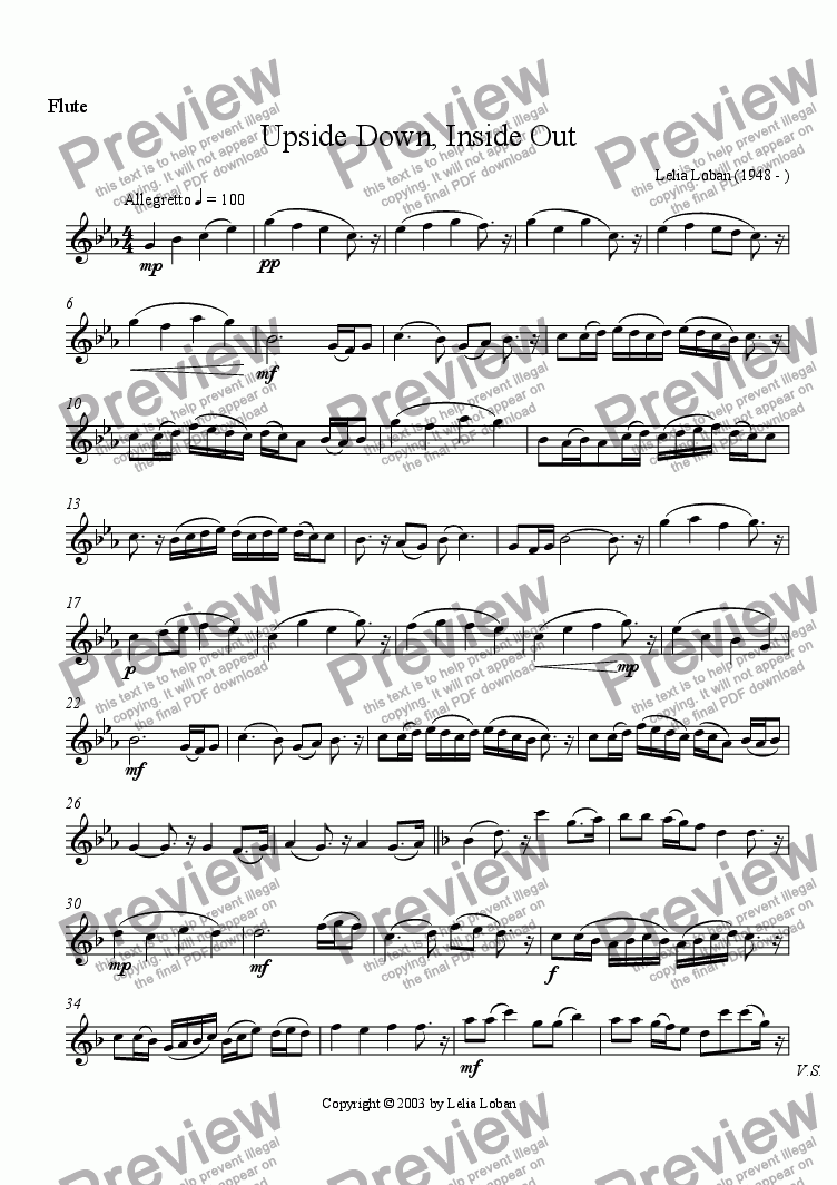 page one of the Flute part from Upside Down, Inside Out (wind quintet)